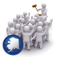alaska map icon and a 3d auction rendering, showing an auctioneer, a hammer, and bidders