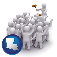 louisiana map icon and a 3d auction rendering, showing an auctioneer, a hammer, and bidders
