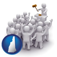 new-hampshire a 3d auction rendering, showing an auctioneer, a hammer, and bidders