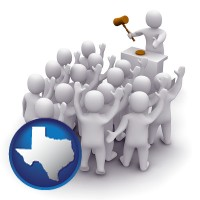 texas map icon and a 3d auction rendering, showing an auctioneer, a hammer, and bidders