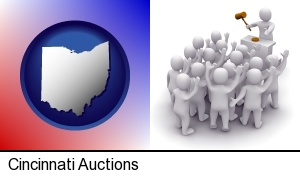 Cincinnati, Ohio - a 3d auction rendering, showing an auctioneer, a hammer, and bidders