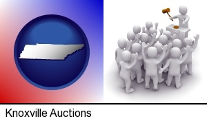 a 3d auction rendering, showing an auctioneer, a hammer, and bidders in Knoxville, TN